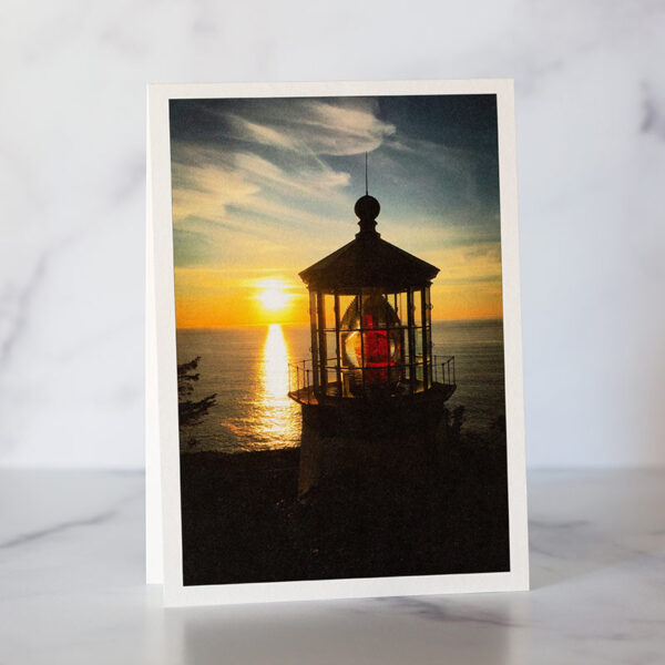 Photo of Cape Meares Lighthouse Sunset Greeting Card