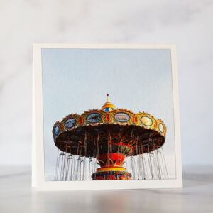 Photo of Santa Cruz Beach Boardwalk Sea Swings Greeting Card
