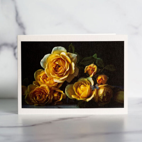 Blue Butterfly and Yellow Roses Greeting Card