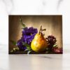 Photo of Pear and Purple Flowers Mini Card by Melissa Ann Bagley