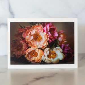 Photo of Peonies and Bees Greeting Card by Melissa Ann Bagley