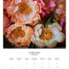 February 2022 wall calendar page with pink and cream peonies on it