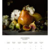December 2022 wall calendar page with a pear, figs and flowers on it