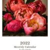 Front Cover of 2022 Wall Calendar with pink peonies on it