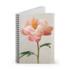 Photograph of a spiral bound notebook with a Peachy Pink Peony on it.