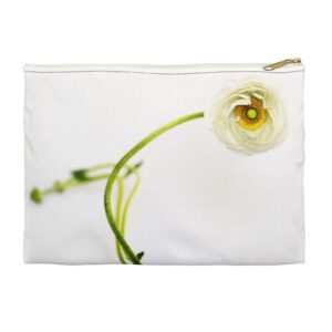 Photo of White Ranunculus Zippered Pouch - Front View